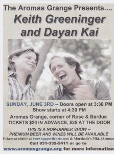 Concert: Keith Greeninger and Dayan Kai @ Aromas Grange | Aromas | California | United States